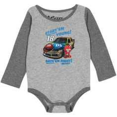 Chase Authentics Kyle Busch Longsleeve Creeper by Football Fanatics. $17.95. Chase Authentics Kyle Busch Infant Start 'Em Young Long Sleeve Creeper - Ash/CharcoalTagless collarThree snap buttons on bottomContrast color accentsScreen print graphicsImportedOfficially licensed NASCAR product90% Cotton/10% Polyester90% Cotton/10% PolyesterScreen print graphicsContrast color accentsThree snap buttons on bottomTagless collarImportedOfficially licensed NASCAR product