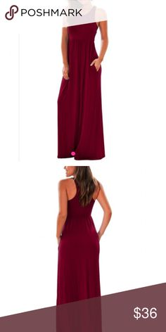 💞Burgundy Racerback Maxi Dress So cute!! Burgundy racer back maxi dress. Size Small. Fit is TTS. This dress in black is available in my closet!! Dresses Maxi