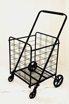 Uniware 360 Degree Wheel Folding Super Jumbo Shopping Cart 51.25 X 8 X 27 Inch (Black) [1203]
