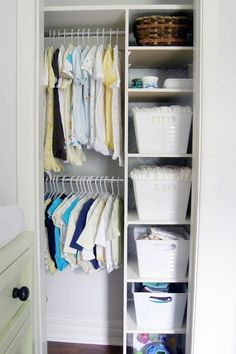 Small space organization: turning a closet-kit organizer into something with a more built-in feel for a tiny closet. Could work for the amount of closet space we will have in the guest room closet Ikea Closet Organizer, Nursery Closet Organization, Small Space Organization, Organization Ideas, Kids Closet Storage, Shoes Organizer, Wardrobe Storage, Shoe Storage, Small Closet Space