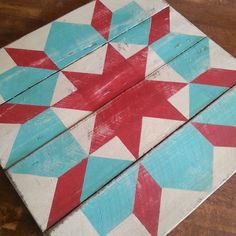 Image of Swoon Red and Blue Barn Quilt