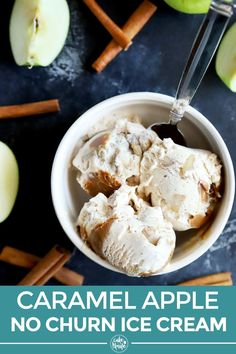 Caramel Apple Ice Cream is full of apple pie spices, fresh apples, and creamy dulce de leche for theultimate fall sweet treat. It's a no-churn dessert so you don't have to worry about having an ice creammaker to make it! | cakenknife.com #caramelapple #homemadeicecream #nochurnicecream #appledessert #falldesserts