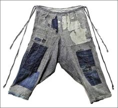 Farm Woman's Kasuri Boro Monpe Work Pants, late 1800s ~ Early 1900s  www.kimonoboy.com