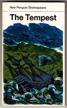 The Tempest - William Shakespeare. Vintage New Penguin Shakespeare series paperback. Reprint - Cover illustration by David Gentleman. Book Cover Art, Book Cover Design, Book Design, Book Covers, David Gentleman, Vintage Penguin, Cartoon Books, Comic Books, William Shakespeare
