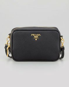 $595 - Prada Saffiano Mini Zip Crossbody Bag, Black on shopstyle.com