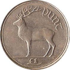 1990 Ireland 1 Pound Coin Irish Red Deer Now that's money, unlike the stupid Monopoly money we currently have. A tenner laster forever. Old Irish, Irish Celtic, Celtic Art, Irish Symbols, Monopoly Money, Coin Design, Irish Roots, Old Money, Irish