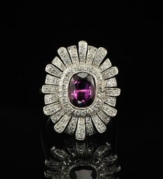 Majestic Burma ruby and diamond vintage flower ring.1950s