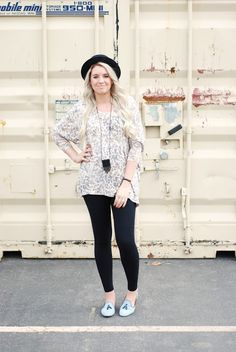 Maternity style wearing leopard top, black leggings and baby blue loafers. Pregnant outfit from www.theredclosetdiary.com || Instagram: jalynnschroeder
