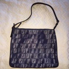 Denim Fendi Pouch/ Handbag! Unique multi tone denim Fendi logo mini handbag! So cute! Guaranteed authentic and purchased from Fendi boutique! FENDI Bags Mini Bags