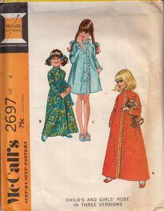 59b1e03f7 McCall's 2697-Girl's Robe Sz 6 Vtg 70's Sewing Pattern #McCalls  #clothingrobe