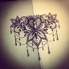 Lace Heart Tattoo, Lace Sternum Tattoo, Lotus Flower