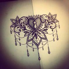 Lace Heart Tattoo, Lace Sternum Tattoo, Lotus Flower