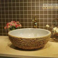 Deep Embossed Ceramic Lavabo Pia Banheiro Round Countertop Bathroom Sink Washbasin - ICON2 Luxury Designer Fixures  Deep #Embossed #Ceramic #Lavabo #Pia #Banheiro #Round #Countertop #Bathroom #Sink #Washbasin
