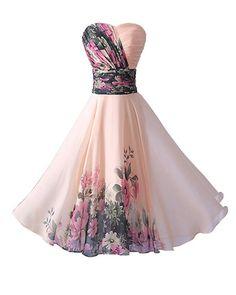 YipGrace Donna Elegante Senza Spalline Vestiti Da Sera Corti Pink M