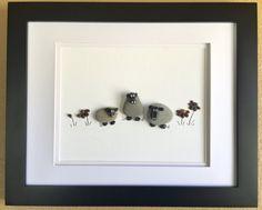 Pebble art, nursery decor, baby's room, baby shower gift, sheep, flowers, barnyard animals, farm decor
