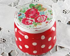 Mason jars - set of four - shabby - romantic - vintage - cottage - Cath Kidston style - flowers Red Mason Jars, Cath Kidston, Etsy Vintage, Coin Purse, Shabby, Romantic, Quilts, Ornaments, Unique Jewelry