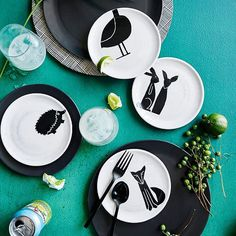 Painted Animal Canape Plates, Assorted Set of 4