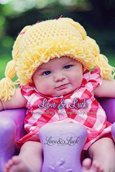 Cabbage Patch Doll Inspired Wig Hat with pigtails for baby infant photography prop Brunette Blonde on Etsy, $25.00