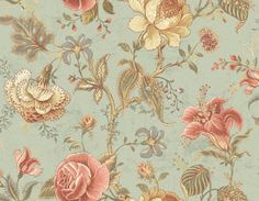 Wallpaper Large Traditional Jacobean Floral Vine Lavender Green Gold on Cream Washable Wallpaper, Fabric Wallpaper, Cream Wallpaper, Home Wallpaper, Discount Wallpaper, Painting Carpet, Flowering Vines, Green Backgrounds, Kid Bedrooms
