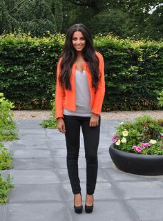 Tangerine Blazer + Gray Tee + Black Skinny Jeans + Black Pumps; probably change the colour of the blazer to turquoise to better suit my complexion
