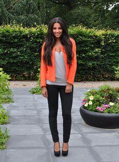 Tangerine Blazer + Gray Tee + Black Skinny Jeans + Black Pumps
