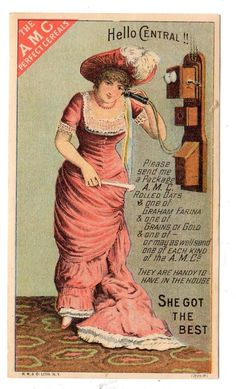 """THE AMC PERFECT CEREALS*TELEPHONE """"HELLO CENTRAL""""*VICTORIAN TRADE CARD*VTC"""