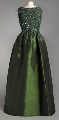 dress collection, evening dresses, fashion, cloth, balenciaga dress, green, gown, haute couture, 1960