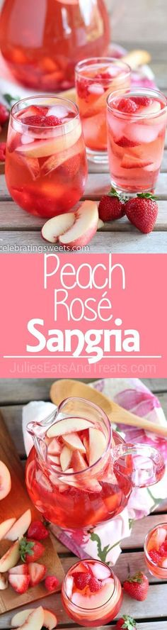 Peach Rosé Sangria Recipe - Rosé, peach juice, peach liqueur, and fresh fruit combine in this beautiful sangria! Refreshing Drinks, Summer Drinks, Cocktail Drinks, Fun Drinks, Alcoholic Drinks, Cocktail Ideas, Vodka Cocktails, Mixed Drinks, Rose Sangria