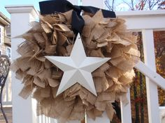 Tied Burlap Wreath | Medium Burlap Wreath Shabby Rustic Wedding Nursery Decor in Natural ...