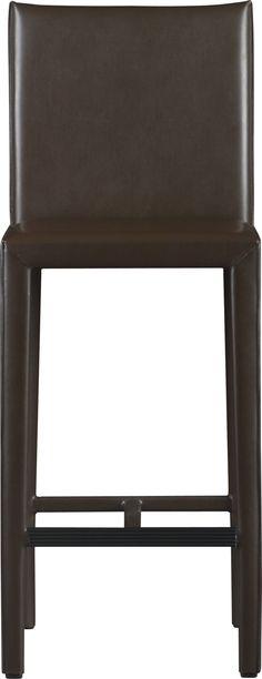 "Folio Chocolate Leather 30"" Barstool    Crate and Barrel"