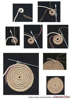Round juta cord bag crochet tasseled handbag summer tote circular purse circle bags custom made China Mochila (on-line / MK) - Tudo em azhure . This Pin was discovered by Све Crochet rug or heat pad if you get bored at about 12 – Artofit Will Need To Diy Crochet Rope Basket, Crochet Bowl, Bag Crochet, Crochet Handbags, Crochet Stitches, Crochet Patterns, Crochet Round, Hemp Yarn, Diy Sac