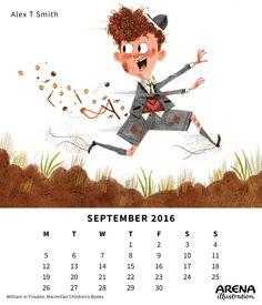 Arena Calendar September Alex T. September Calendar, School Boy, Will Smith, Illustrators, Movie Posters, Image, Film Poster, Illustrator, Illustrations