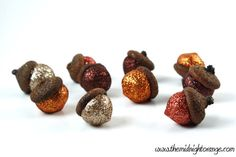 Sculpted Glitter  Autumn Acorns with Natural by TheMidnightOrange