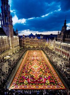 The annual carpet of flowers, Grande Place, Brussels, Belgium.