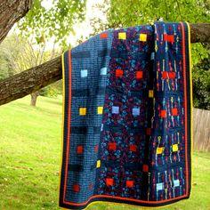 Blue Baby Quilt  Modern Crib Quilt by TwiggyandOpal on Etsy, $89.00