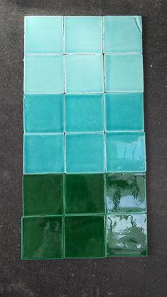Southern Tiles: Handglazed Terracotta, 13x13 cm_Verde Mar_Verde Azulado_Verde Cobre www.southerntiles.de
