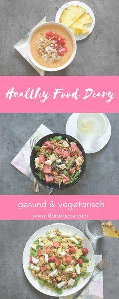 Gesund und lecker essen, muss nicht kompliziert sein. Hier findest du ein komplettes Food Diary mit 3 sommerlichen, leckeren und vegetarischen Rezepten. Mehr findest du auf www.klarafuchs.com