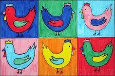 Tekenen en zo: Kippen in de stijl van Andy Warhol Nog zo'n mooi idee..!
