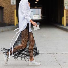 Urban Fashion, Boho Fashion, Fashion Outfits, Sartorialist, Street Outfit, Mesh Dress, Street Chic, New York Fashion, Street Style Women