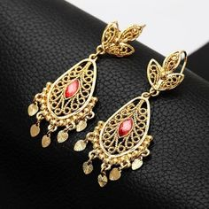 18K Real Gold Plated Red Crystal Drop indian trendy earrings from Bollywood Vogue Saree for $20.00 on Square Market