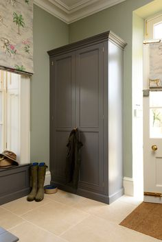 South Downs House — The Marion House Book Coat Cupboard, Hall Cupboard, Linen Cupboard, Built In Storage, Tall Cabinet Storage, Built In Furniture, Furniture Upholstery, Tiled Hallway, Closet Door Makeover