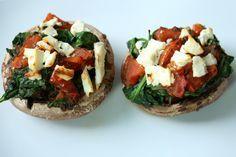 I Love Health   Portobello met spinazie, tomaat en feta   http://www.ilovehealth.nl