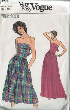 very easy very vogue 8670, vintage 80s strapless dress pattern, sizes 6 8 10 FREE SHIPPING to canada and usa. $8.00, via Etsy.
