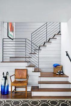 Stair Railing: farmhouse staircase by Clayton&Little Architects Modern Stair Railing, Stair Railing Design, Modern Stairs, Metal Railings, Steel Railing, House Stairs Design, Indoor Stair Railing, Cable Stair Railing, Staircase Contemporary