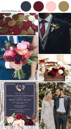 wedding colors *Pop of burgundy and gold add a nice fall feel? but kept to a minimum