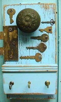 Weathered Wood With Vintage Keys, Doorknob, and Hinge