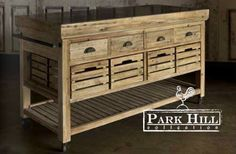 Our Hero Farmers Market Rolling Island with Marble Top: Reclaimed Wood Made In The USA: Farmhouse Style Furniture, Farmhouse Chic, Farmhouse Cabinets, Fixer Upper Style, Rolling Island, Park Hill Collection, Reclaimed Barn Wood, Marble Top, Black Marble