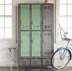 "American steel lockers reclaimed from high schools, factories and other venues live again, refurbished in natural steel and green meadow powder coating. Six vented door lockers sort, organize and conceal, providing a clever storage solution for large families, vacation homes, crafts and sports equipment. Three smaller drawers offer more storage below. Made in USA. Ships from our supplier in 2 to 4 weeks. Additional shipping $375. 36""W x 12""D x 72""H."