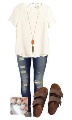 """Birkenstock"" by evieleet ❤ liked on Polyvore featuring Mavi, H&M, Birkenstock and Kendra Scott"