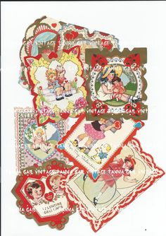 1930's Vintage Valentines Set of Eight by TannaGail on Etsy, $3.50
